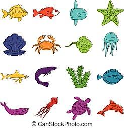 Sea animals icons doodle set