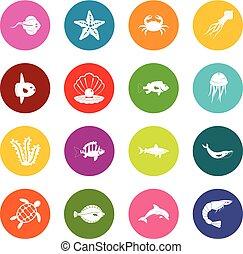 Sea animals icons many colors set