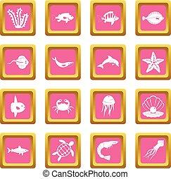 Sea animals icons pink