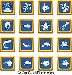 Sea animals icons set blue