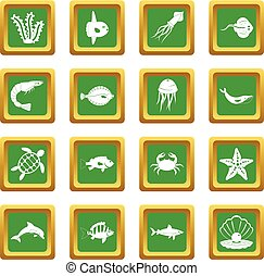 Sea animals icons set green