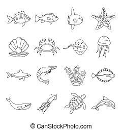Sea animals icons set, otline style