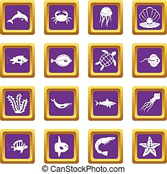 Sea animals icons set purple
