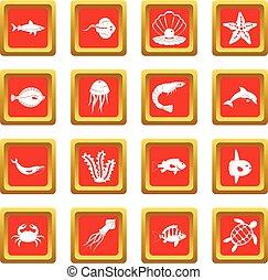 Sea animals icons set red