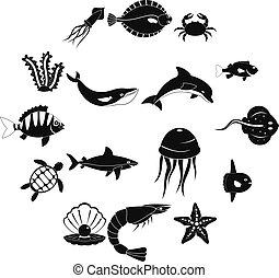 Sea animals icons set, simple style
