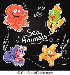 Sea animals in cartoon style. Cool sticker design on blackboard.