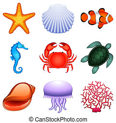 Sea animals. - Set of 9 sea animals.