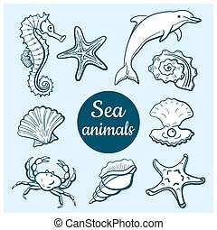 Sea Animals Set - Set of marine icons. Hand drawn sea...