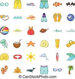 Sea aqua icons set, cartoon style