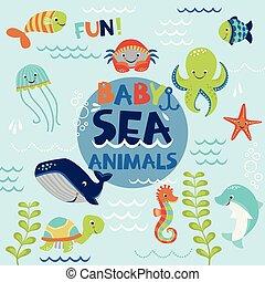 Sea baby animals vector set