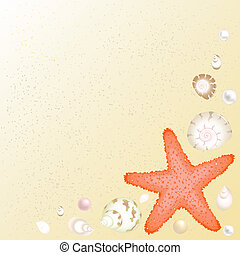 Sea Background - Starfish, Shells And Pearls Over Sand