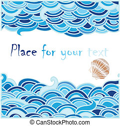 sea background with cockleshell and place for text.Vector...