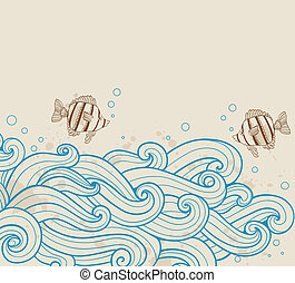 Sea ??background with fishes - Vector vintage sea ??...