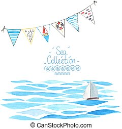 Sea background with sailboat and garland.