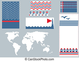 Sea banner and infographic elements set cute design