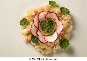 Sea bass fish tartar with radish - Sashimi