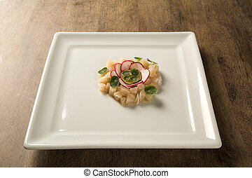 Sea bass fish tartar with radish - Sashimi
