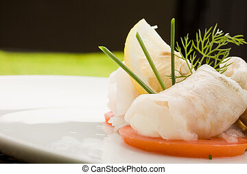 Sea Bass rolls with tomatoes - photo of delicious sea bass ...