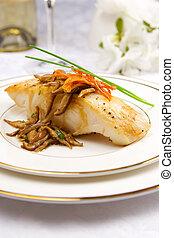 Sea bass with mushrooms