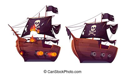 Sea battle of wooden ship, pirate sailboat
