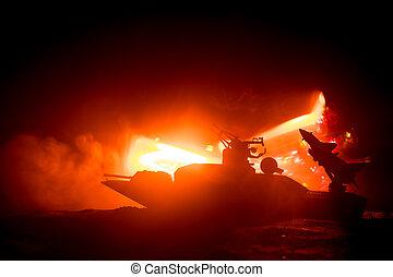 Sea battle scene. Silhouette of military war ship on dark...