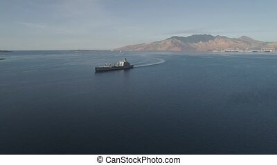 Sea bay with cargo ships. - Aerial view: Cargo, Reefer ship...