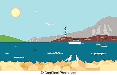 Sea bay with lighthouse, boat and yachts and seagull on rock, under a summer blue sky with shining sun