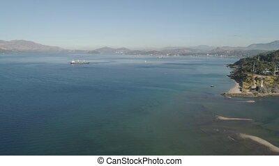 Sea bay with ships.