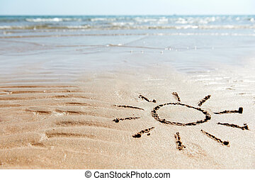 sea beach background with sun drawn on sand