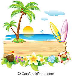 Sea beach - illustration of surf board and palm tree on sea ...