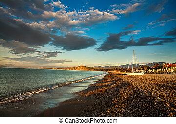 Sea beach in dawn sky background