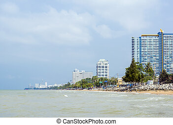 Sea beach of tropical city