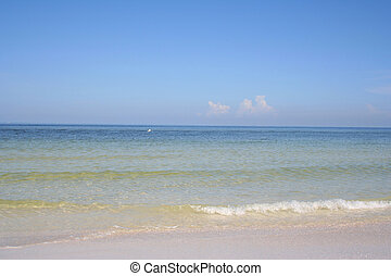 Sea - Beach scene with transparent water and blue sky