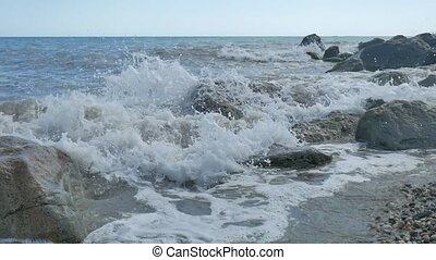 Sea beach storm mountains stones strong waves water nature the landscape slow motion video