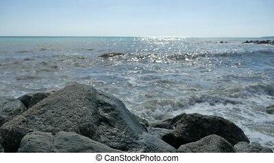 Sea beach storm nature mountains stones strong water waves...