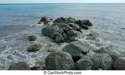 Sea beach storm nature mountains stones strong waves water...