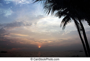 Sea beach sunset background travel