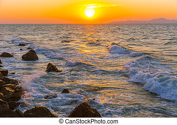 Sea beach sunset ocean wave nature background