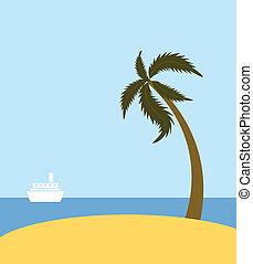 Sea beach with palm tree