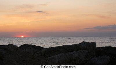 sea., beau, levers de soleil, mer, bulgarie, ou, sur, coucher soleil, noir