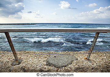 Sea Behind Banister