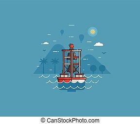 Sea Bell Buoy on Seaside Background
