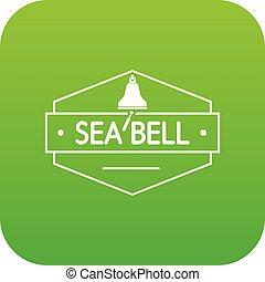 Sea bell icon green vector