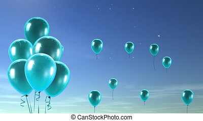 Sea blue balloons flying to the sky