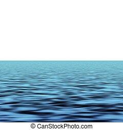 Sea - Blue sea waves over white background horizon