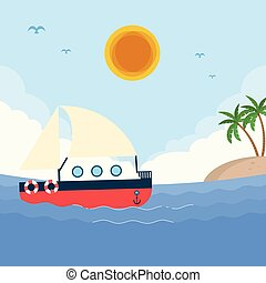 Sea Boat Sun Island Blue Sky Background Vector Image