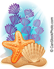Sea bottom - Vector illustration - tropical sea bottom