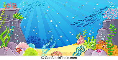 Sea bottom. Vector illustration with a background