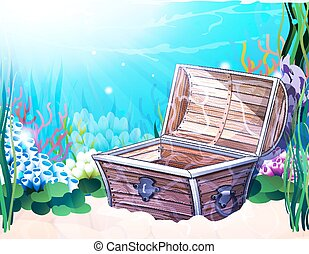 Sea bottom with old  chest