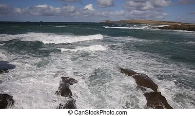 Sea breaking on rocks Cornwall uk - Treyarnon Bay Cornwall...